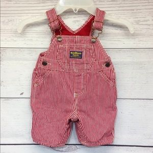OshKosh Bgosh Red White Stripe Bib Overalls Lined